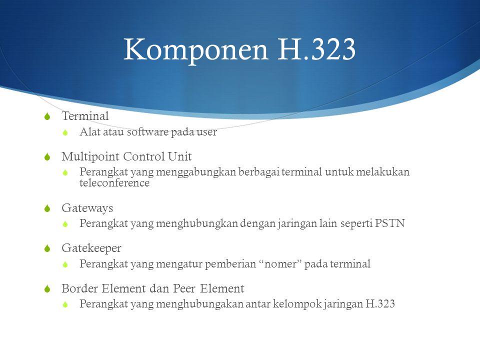 Komponen H.323  Terminal  Alat atau software pada user  Multipoint Control Unit  Perangkat yang menggabungkan berbagai terminal untuk melakukan te