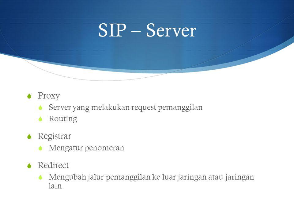 SIP – Server  Proxy  Server yang melakukan request pemanggilan  Routing  Registrar  Mengatur penomeran  Redirect  Mengubah jalur pemanggilan ke