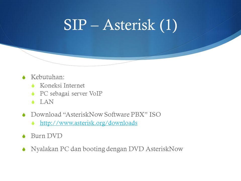 "SIP – Asterisk (1)  Kebutuhan:  Koneksi Internet  PC sebagai server VoIP  LAN  Download ""AsteriskNow Software PBX"" ISO  http://www.asterisk.org/"
