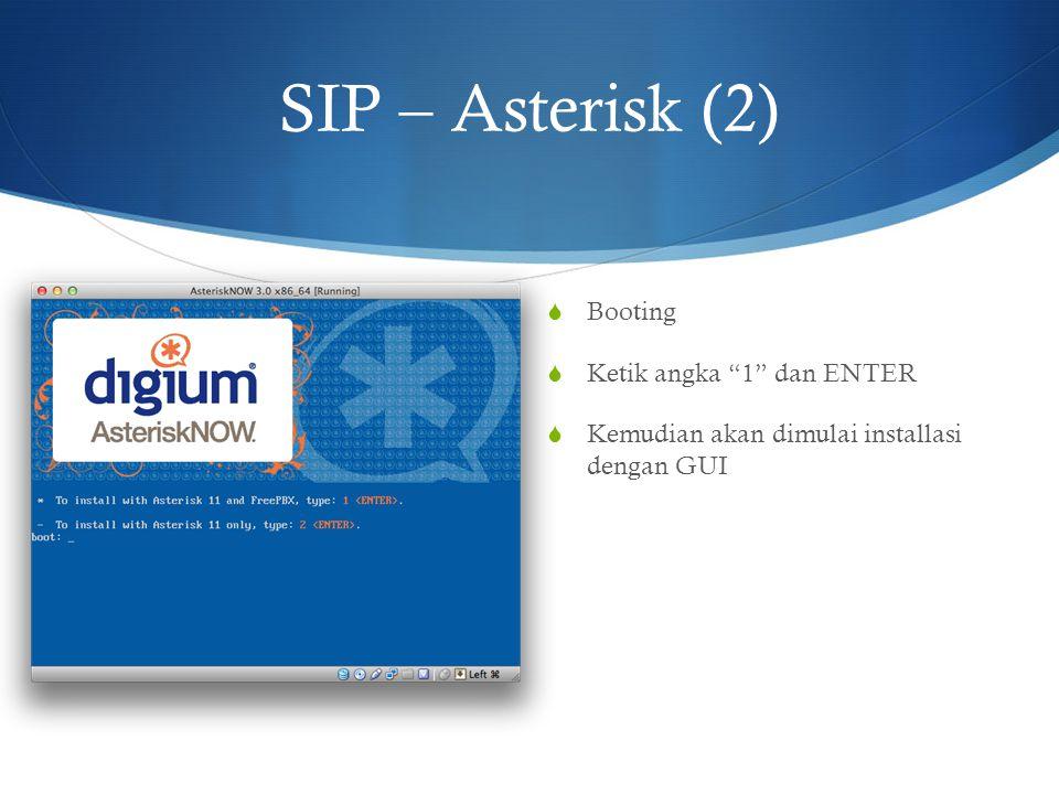 """SIP – Asterisk (2)  Booting  Ketik angka """"1"""" dan ENTER  Kemudian akan dimulai installasi dengan GUI"""