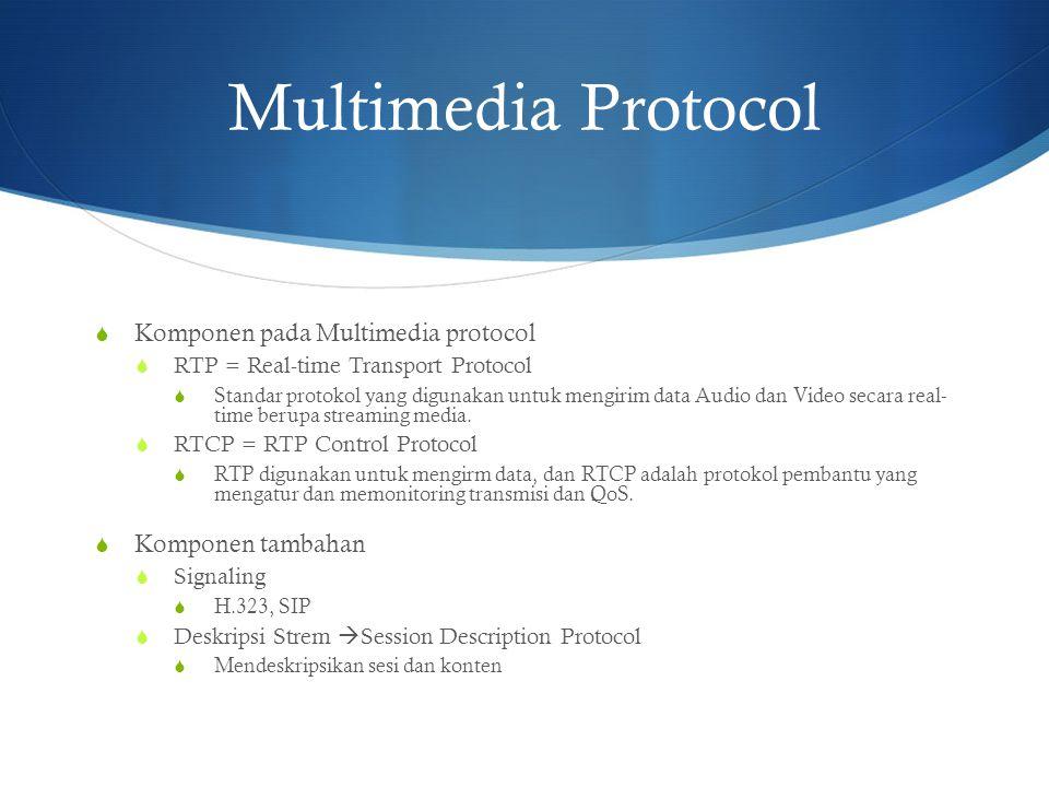 Multimedia Protocol  Komponen pada Multimedia protocol  RTP = Real-time Transport Protocol  Standar protokol yang digunakan untuk mengirim data Aud