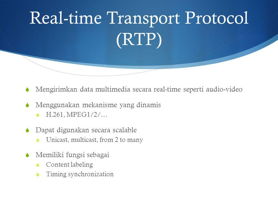 Real-time Transport Protocol (RTP)  Mengirimkan data multimedia secara real-time seperti audio-video  Menggunakan mekanisme yang dinamis  H.261, MP