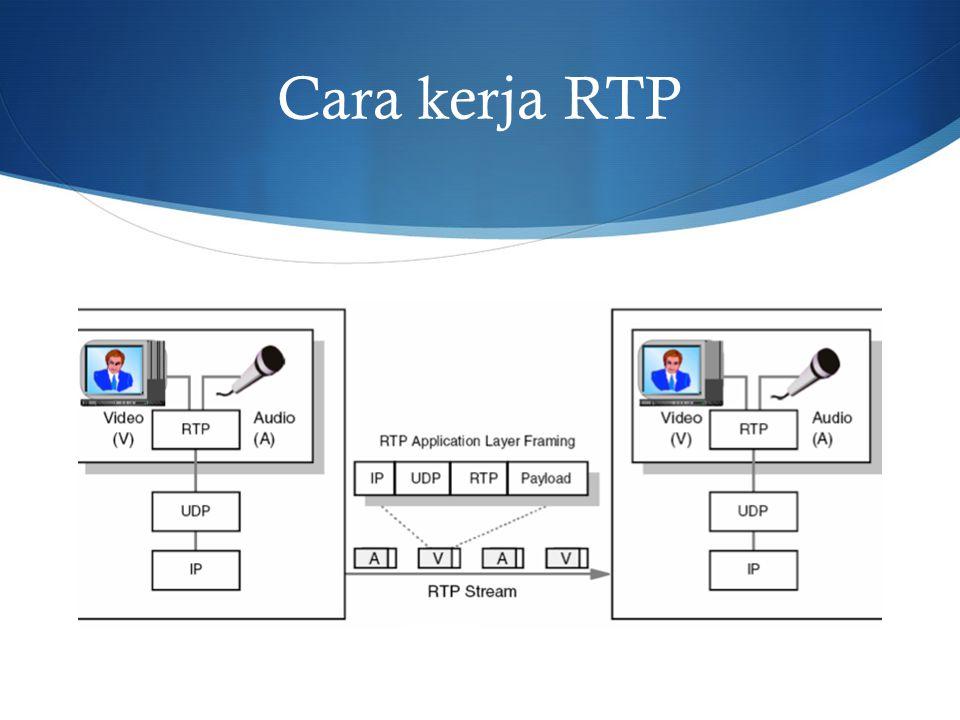 Real-time Transport Control Protocol (RTCP)  Paket pengontrol waktu pengiriman pada RTP  Fungsi  Feedback dari kualitas data yang terkirim  Memberitahukan kepada semua jumlah partisipan  Setiap partisipan di sesi RTP secara periodik mengirimkan RTCP paket kontrol untuk partisipan lainnya