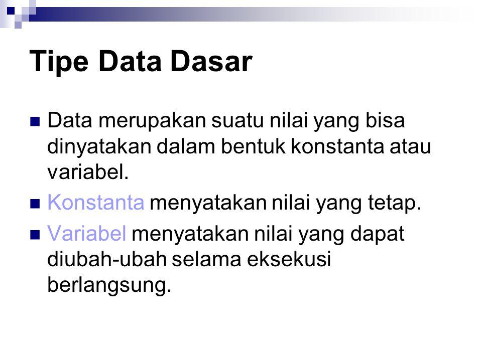 Tipe Data Dasar Data merupakan suatu nilai yang bisa dinyatakan dalam bentuk konstanta atau variabel.