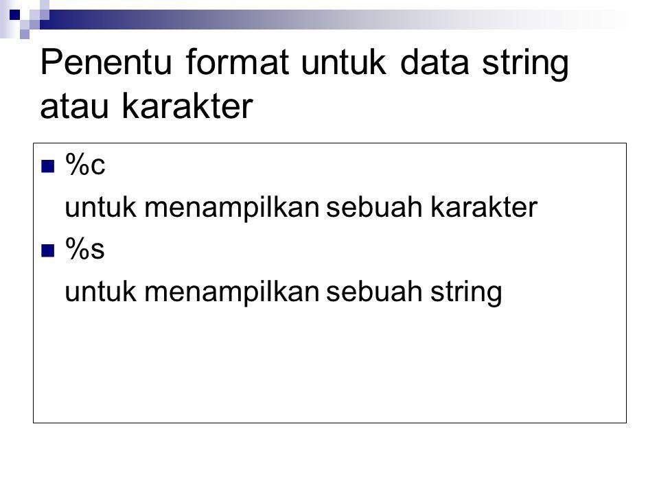 Penentu format untuk data string atau karakter %c untuk menampilkan sebuah karakter %s untuk menampilkan sebuah string