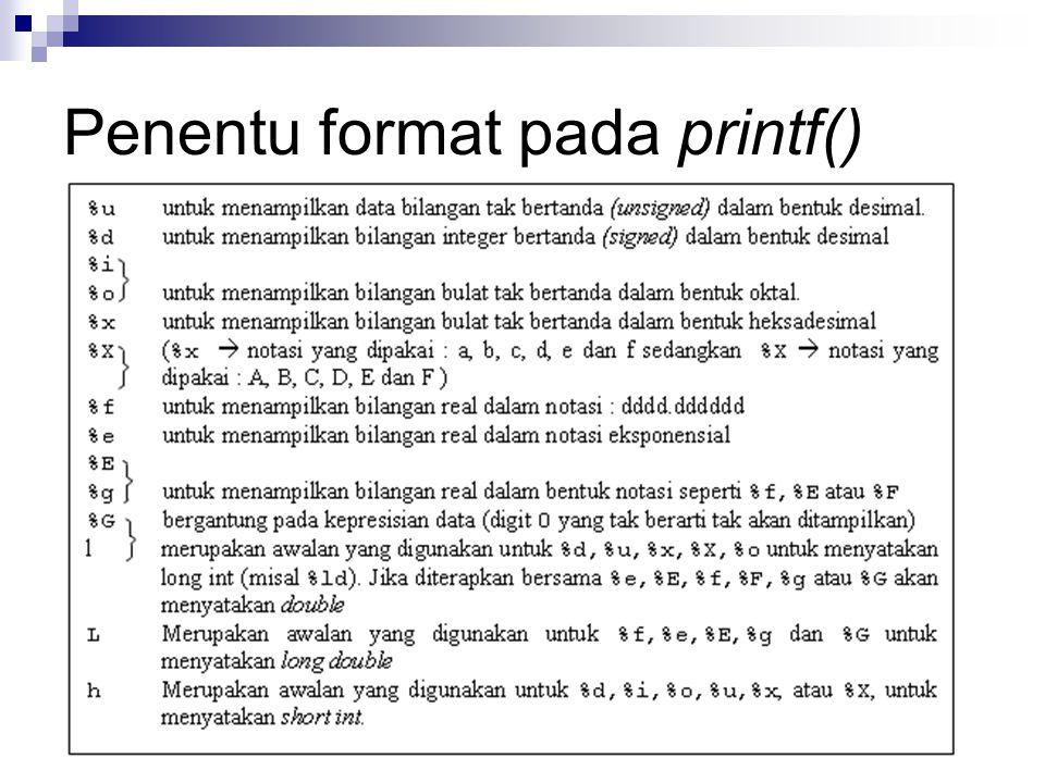 Penentu format pada printf()