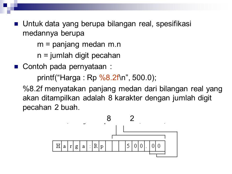 Untuk data yang berupa bilangan real, spesifikasi medannya berupa m = panjang medan m.n n = jumlah digit pecahan Contoh pada pernyataan : printf( Harga : Rp %8.2f\n , 500.0); %8.2f menyatakan panjang medan dari bilangan real yang akan ditampilkan adalah 8 karakter dengan jumlah digit pecahan 2 buah.