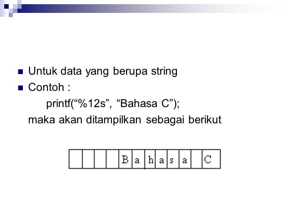 Untuk data yang berupa string Contoh : printf( %12s , Bahasa C ); maka akan ditampilkan sebagai berikut