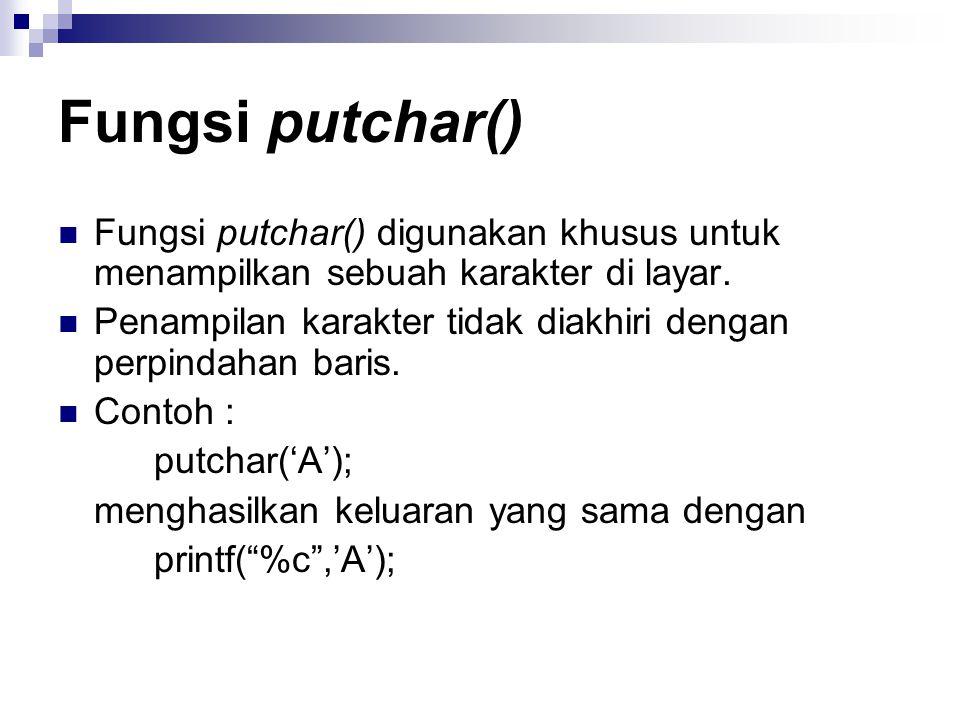 Fungsi putchar() Fungsi putchar() digunakan khusus untuk menampilkan sebuah karakter di layar.