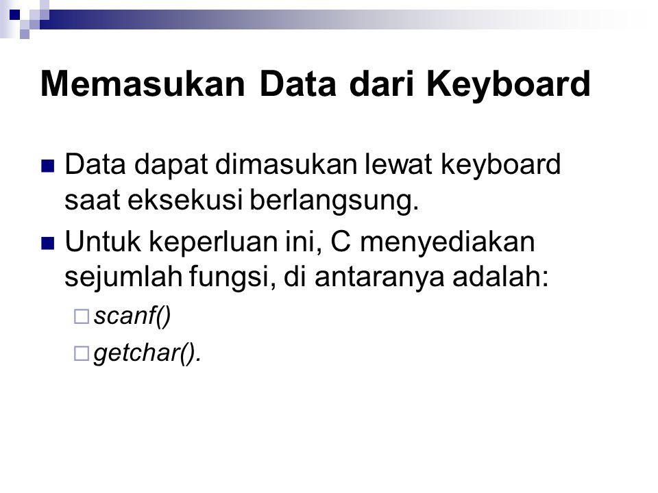 Memasukan Data dari Keyboard Data dapat dimasukan lewat keyboard saat eksekusi berlangsung.