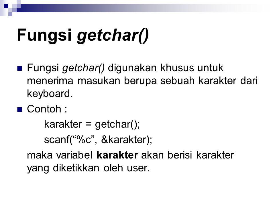 Fungsi getchar() Fungsi getchar() digunakan khusus untuk menerima masukan berupa sebuah karakter dari keyboard.