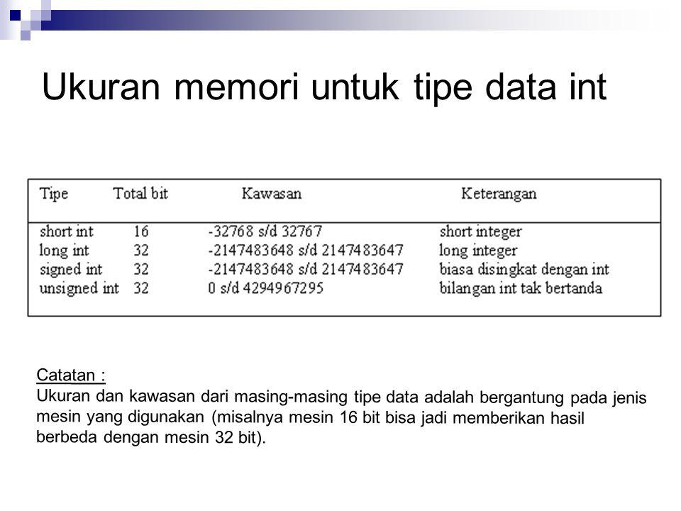 Ukuran memori untuk tipe data int Catatan : Ukuran dan kawasan dari masing-masing tipe data adalah bergantung pada jenis mesin yang digunakan (misalnya mesin 16 bit bisa jadi memberikan hasil berbeda dengan mesin 32 bit).