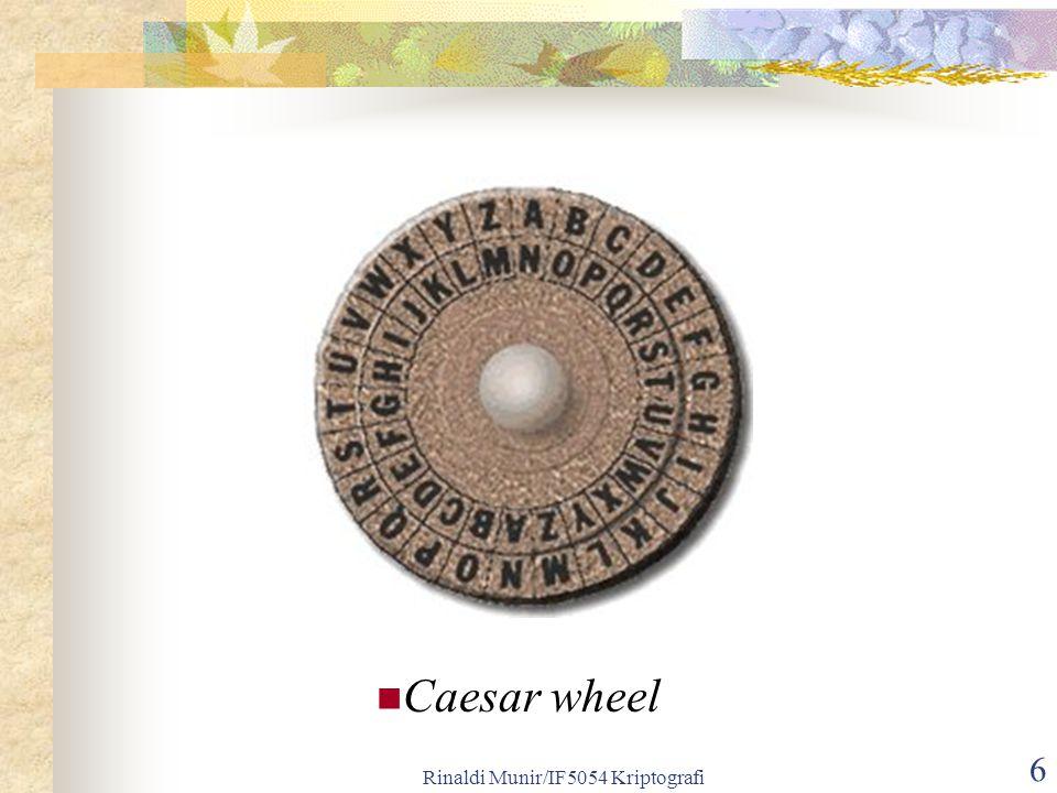 Rinaldi Munir/IF5054 Kriptografi 6 Caesar wheel