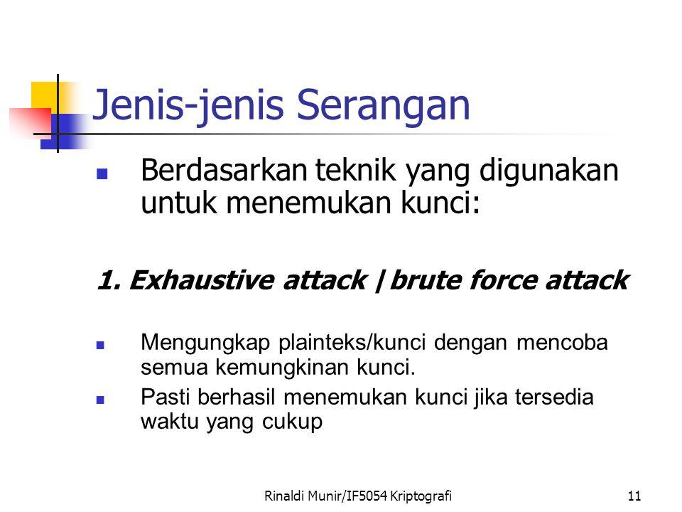 Rinaldi Munir/IF5054 Kriptografi11 Jenis-jenis Serangan Berdasarkan teknik yang digunakan untuk menemukan kunci: 1. Exhaustive attack /brute force att