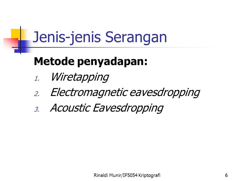 Rinaldi Munir/IF5054 Kriptografi6 Jenis-jenis Serangan Metode penyadapan: 1. Wiretapping 2. Electromagnetic eavesdropping 3. Acoustic Eavesdropping