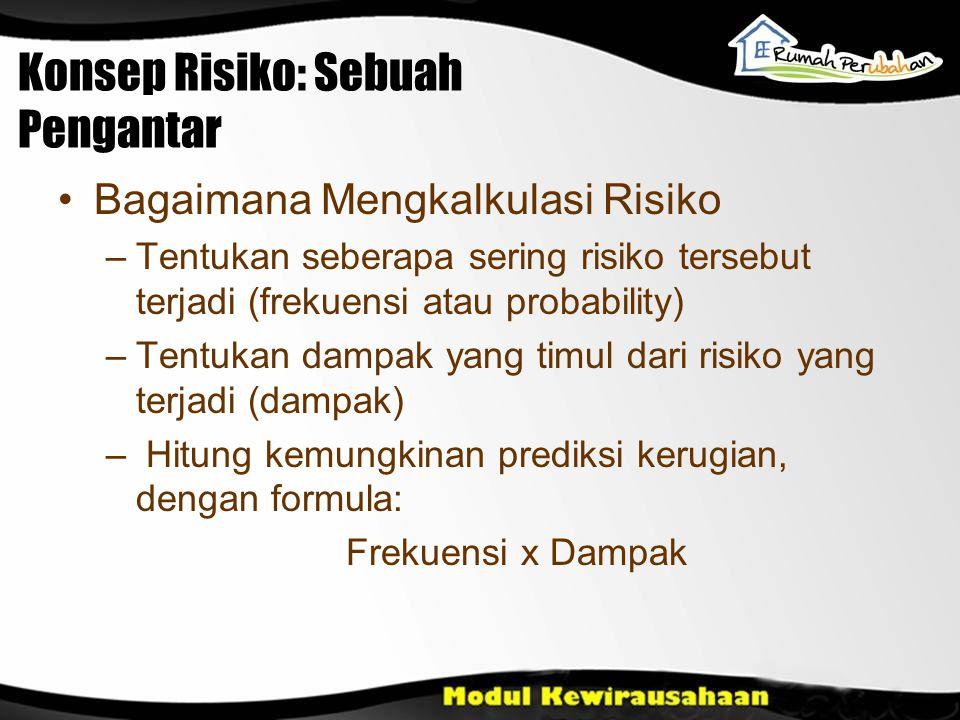 Konsep Risiko: Sebuah Pengantar Bagaimana Mengkalkulasi Risiko –Tentukan seberapa sering risiko tersebut terjadi (frekuensi atau probability) –Tentuka