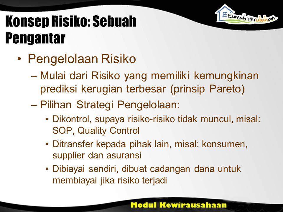 Konsep Risiko: Sebuah Pengantar Pengelolaan Risiko –Mulai dari Risiko yang memiliki kemungkinan prediksi kerugian terbesar (prinsip Pareto) –Pilihan S