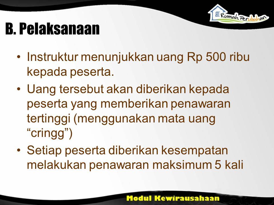 B. Pelaksanaan Instruktur menunjukkan uang Rp 500 ribu kepada peserta. Uang tersebut akan diberikan kepada peserta yang memberikan penawaran tertinggi