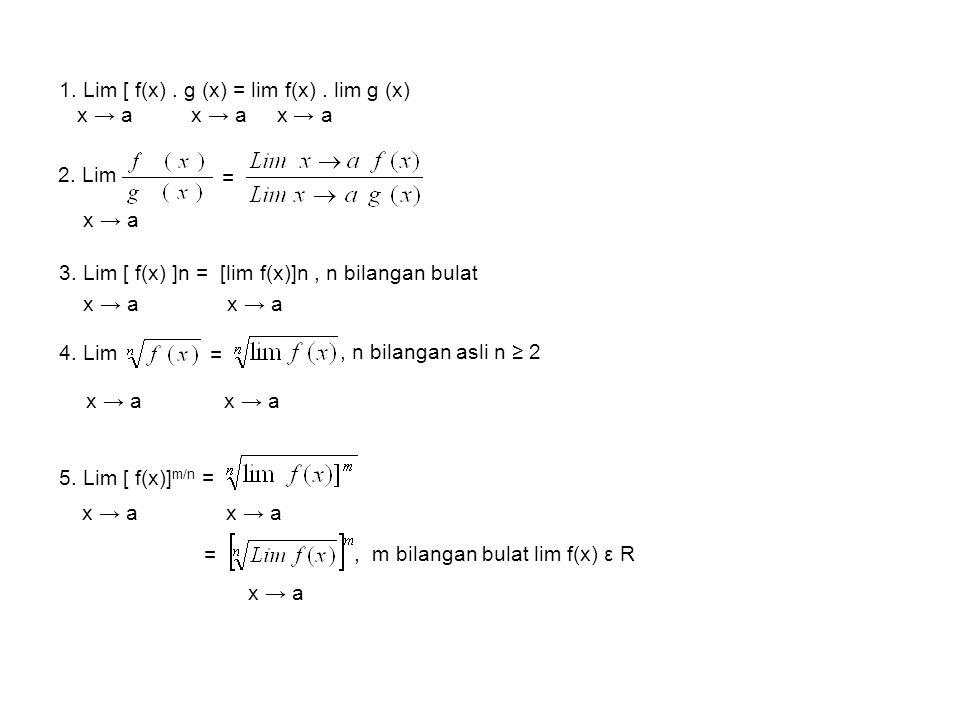 1.Lim [ f(x). g (x) = lim f(x). lim g (x) x → a x → a x → a 2.