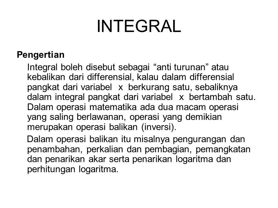 INTEGRAL Pengertian Integral boleh disebut sebagai anti turunan atau kebalikan dari differensial, kalau dalam differensial pangkat dari variabel x berkurang satu, sebaliknya dalam integral pangkat dari variabel x bertambah satu.