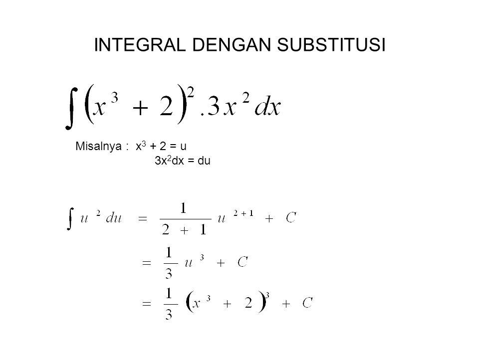 INTEGRAL DENGAN SUBSTITUSI Misalnya : x 3 + 2 = u 3x 2 dx = du