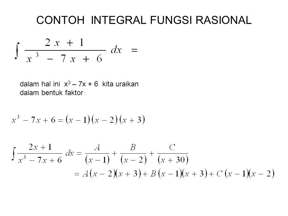 CONTOH INTEGRAL FUNGSI RASIONAL dalam hal ini x 3 – 7x + 6 kita uraikan dalam bentuk faktor :