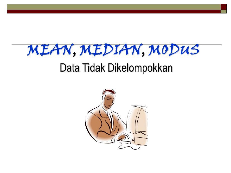 MEAN, MEDIAN, MODUS Data Tidak Dikelompokkan