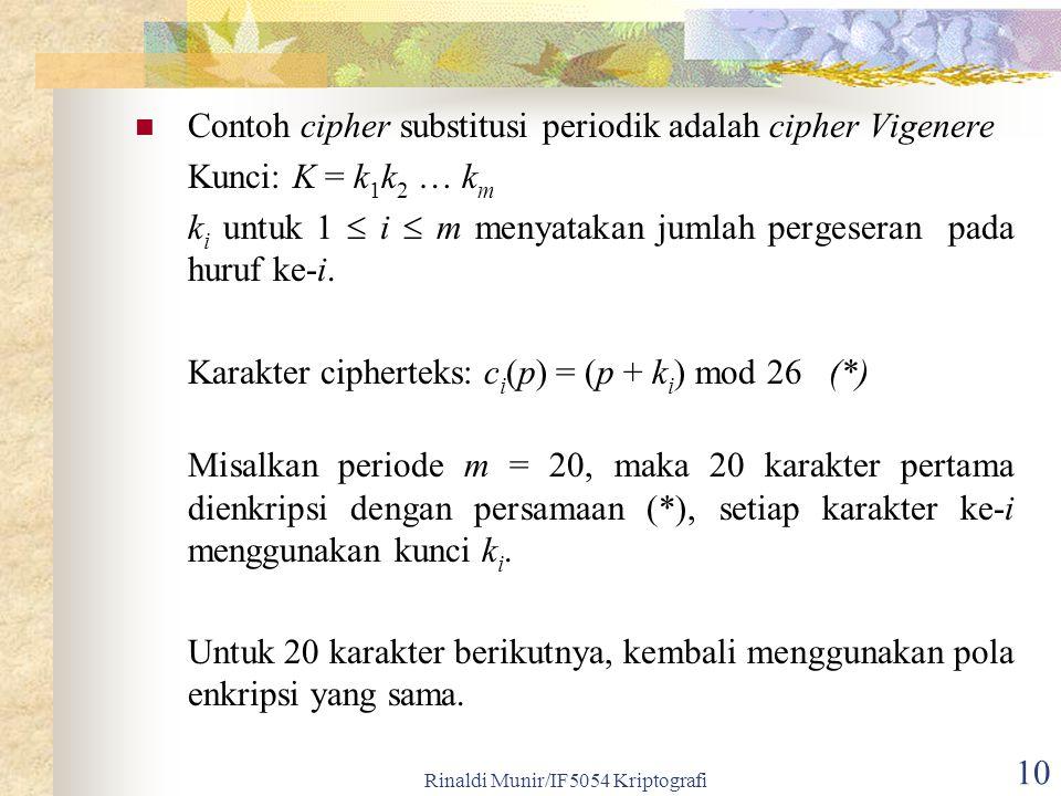 Rinaldi Munir/IF5054 Kriptografi 10 Contoh cipher substitusi periodik adalah cipher Vigenere Kunci: K = k 1 k 2 … k m k i untuk 1  i  m menyatakan jumlah pergeseran pada huruf ke-i.