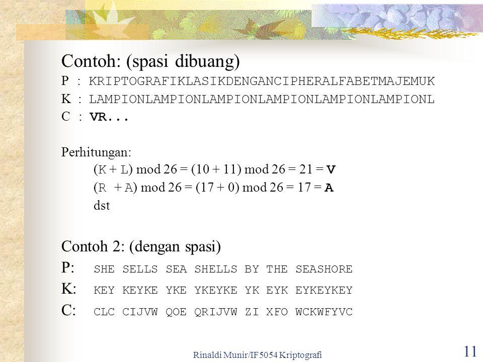 Rinaldi Munir/IF5054 Kriptografi 11 Contoh: (spasi dibuang) P : KRIPTOGRAFIKLASIKDENGANCIPHERALFABETMAJEMUK K : LAMPIONLAMPIONLAMPIONLAMPIONLAMPIONLAMPIONL C : VR...