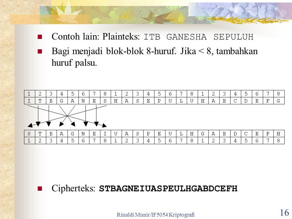 Rinaldi Munir/IF5054 Kriptografi 16 Contoh lain: Plainteks: ITB GANESHA SEPULUH Bagi menjadi blok-blok 8-huruf. Jika < 8, tambahkan huruf palsu. Ciphe