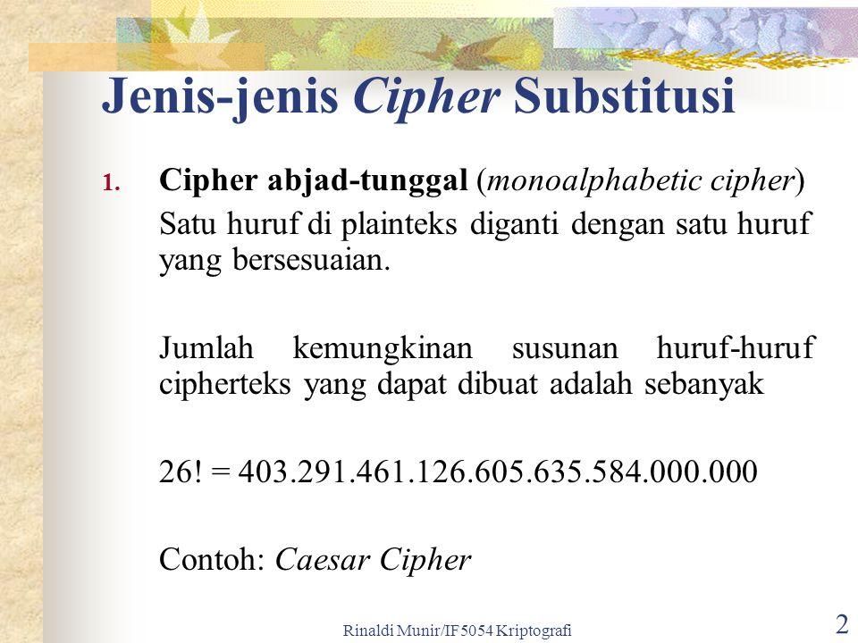 Rinaldi Munir/IF5054 Kriptografi 2 Jenis-jenis Cipher Substitusi 1.