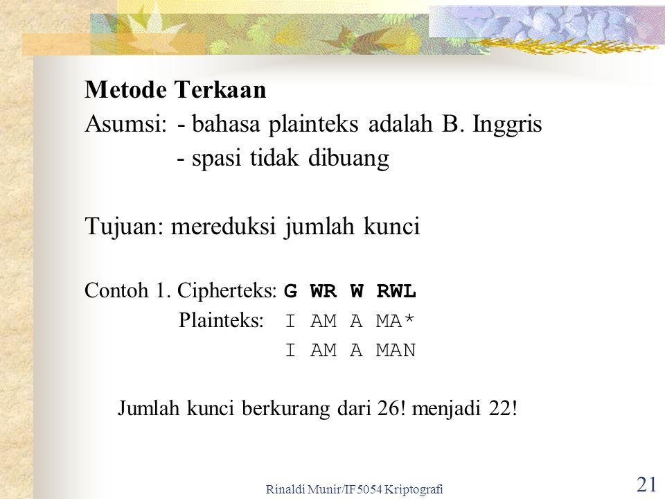 Rinaldi Munir/IF5054 Kriptografi 21 Metode Terkaan Asumsi: - bahasa plainteks adalah B. Inggris - spasi tidak dibuang Tujuan: mereduksi jumlah kunci C