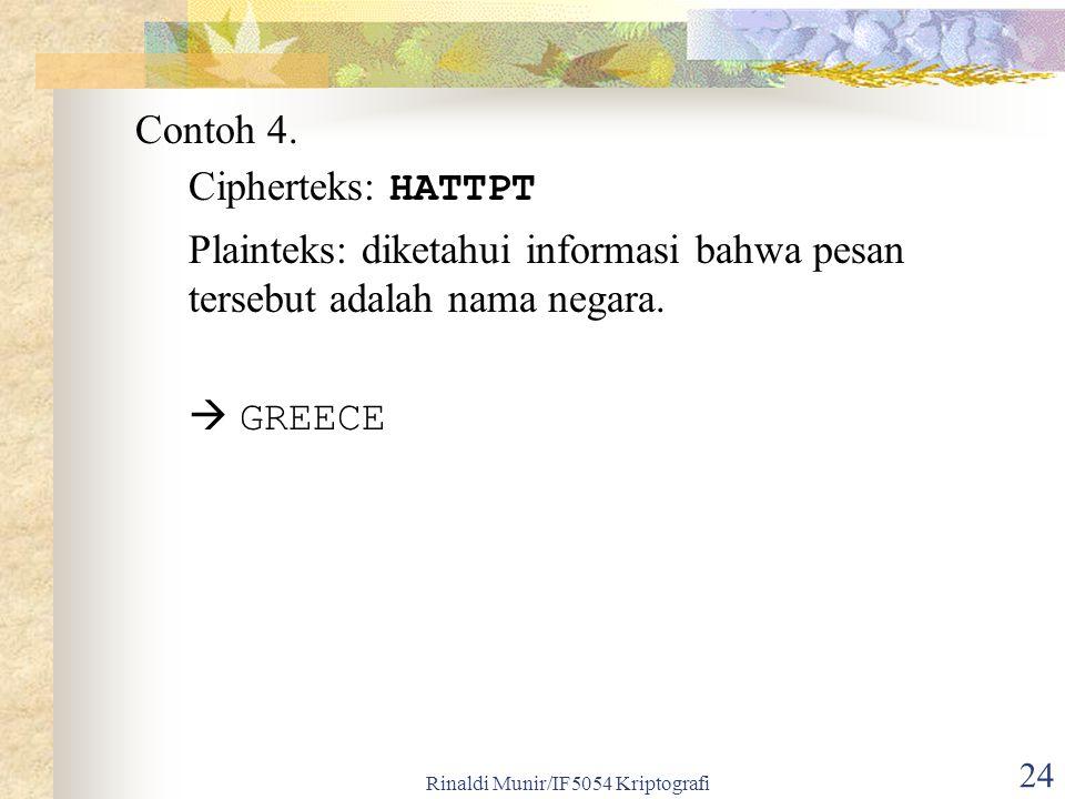 Rinaldi Munir/IF5054 Kriptografi 24 Contoh 4. Cipherteks: HATTPT Plainteks: diketahui informasi bahwa pesan tersebut adalah nama negara.  GREECE