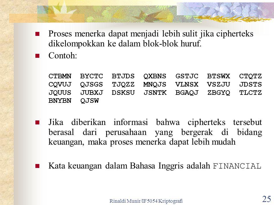 Rinaldi Munir/IF5054 Kriptografi 25 Proses menerka dapat menjadi lebih sulit jika cipherteks dikelompokkan ke dalam blok-blok huruf. Contoh: CTBMN BYC