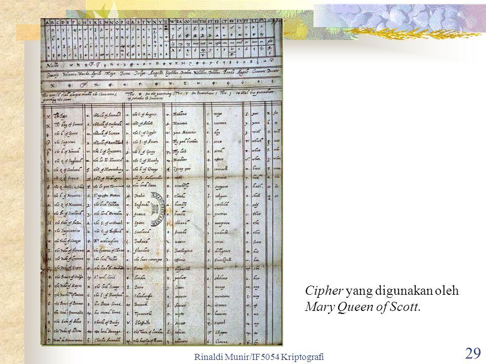 Rinaldi Munir/IF5054 Kriptografi 29 Cipher yang digunakan oleh Mary Queen of Scott.