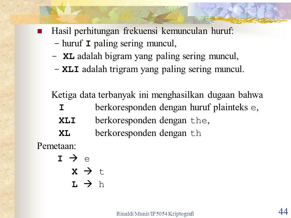 Rinaldi Munir/IF5054 Kriptografi 44 Hasil perhitungan frekuensi kemunculan huruf: - huruf I paling sering muncul, - XL adalah bigram yang paling sering muncul, - XLI adalah trigram yang paling sering muncul.