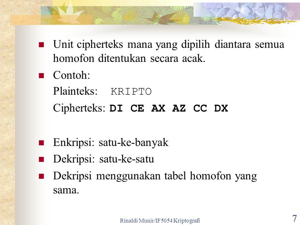 7 Unit cipherteks mana yang dipilih diantara semua homofon ditentukan secara acak. Contoh: Plainteks: KRIPTO Cipherteks: DI CE AX AZ CC DX Enkripsi: s