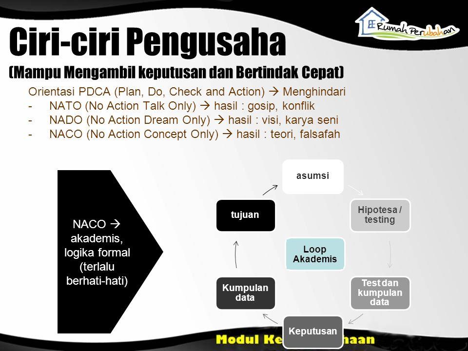 Ciri-ciri Pengusaha (Mampu Mengambil keputusan dan Bertindak Cepat) Orientasi PDCA (Plan, Do, Check and Action)  Menghindari - NATO (No Action Talk O