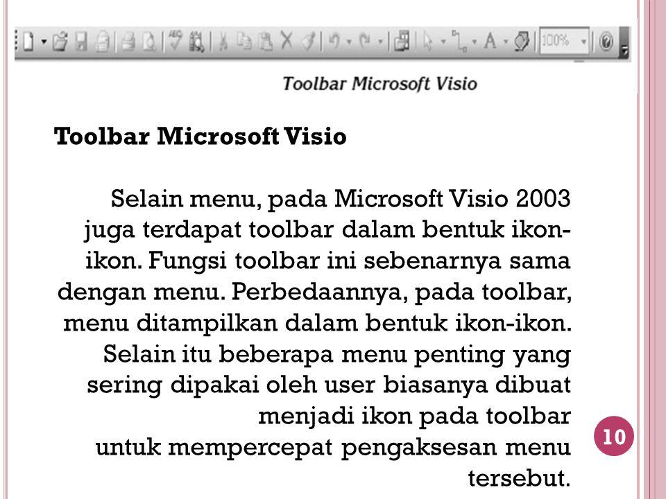 10 Toolbar Microsoft Visio Selain menu, pada Microsoft Visio 2003 juga terdapat toolbar dalam bentuk ikon- ikon. Fungsi toolbar ini sebenarnya sama de