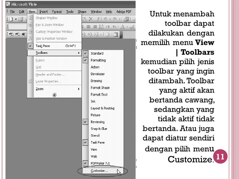 11 Untuk menambah toolbar dapat dilakukan dengan memilih menu View   Toolbars kemudian pilih jenis toolbar yang ingin ditambah. Toolbar yang aktif aka