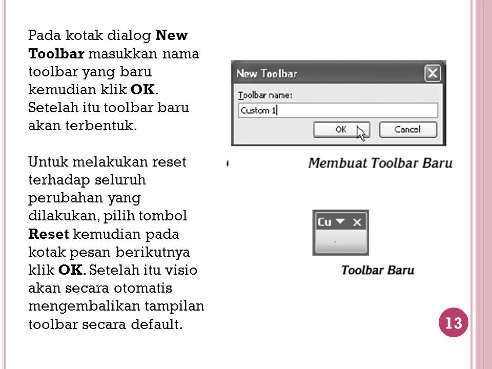 13 Pada kotak dialog New Toolbar masukkan nama toolbar yang baru kemudian klik OK. Setelah itu toolbar baru akan terbentuk. Untuk melakukan reset terh