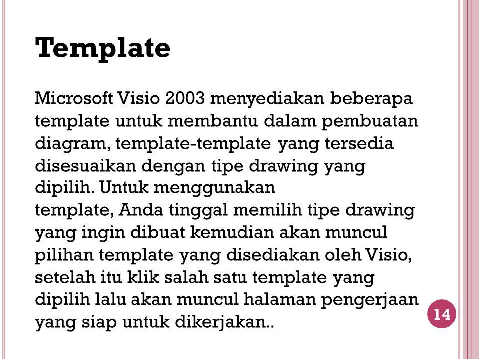 14 Template Microsoft Visio 2003 menyediakan beberapa template untuk membantu dalam pembuatan diagram, template-template yang tersedia disesuaikan den