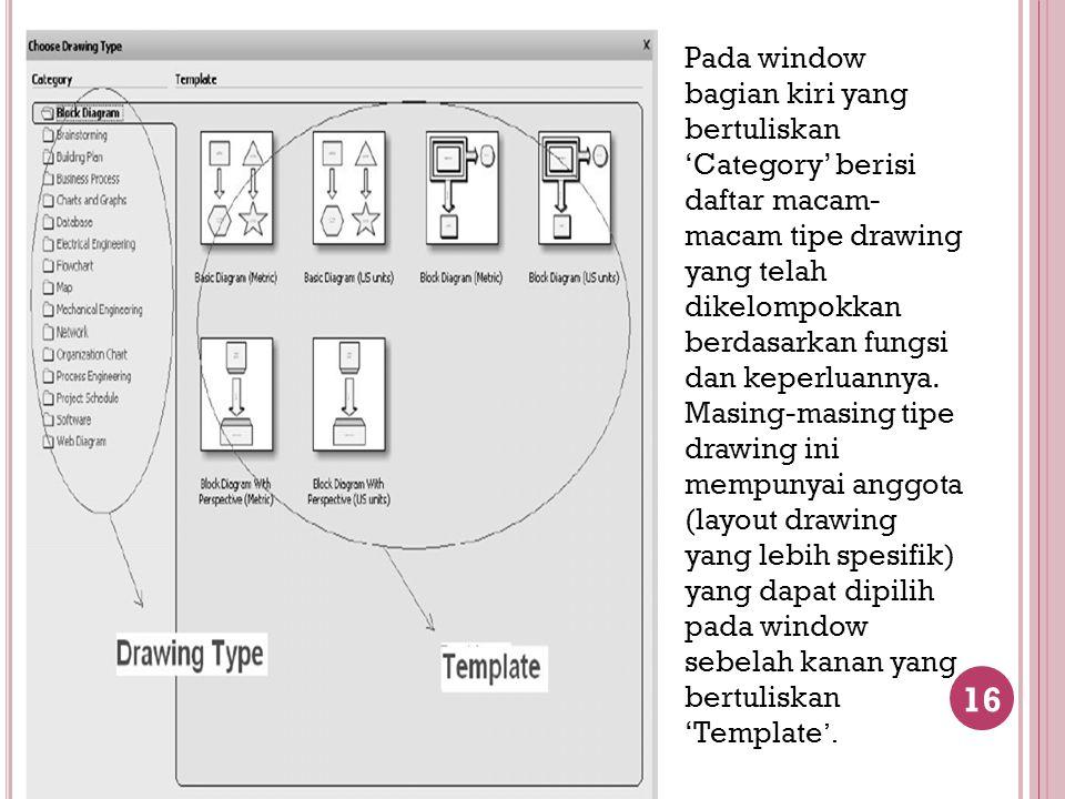 16 Pada window bagian kiri yang bertuliskan 'Category' berisi daftar macam- macam tipe drawing yang telah dikelompokkan berdasarkan fungsi dan keperlu
