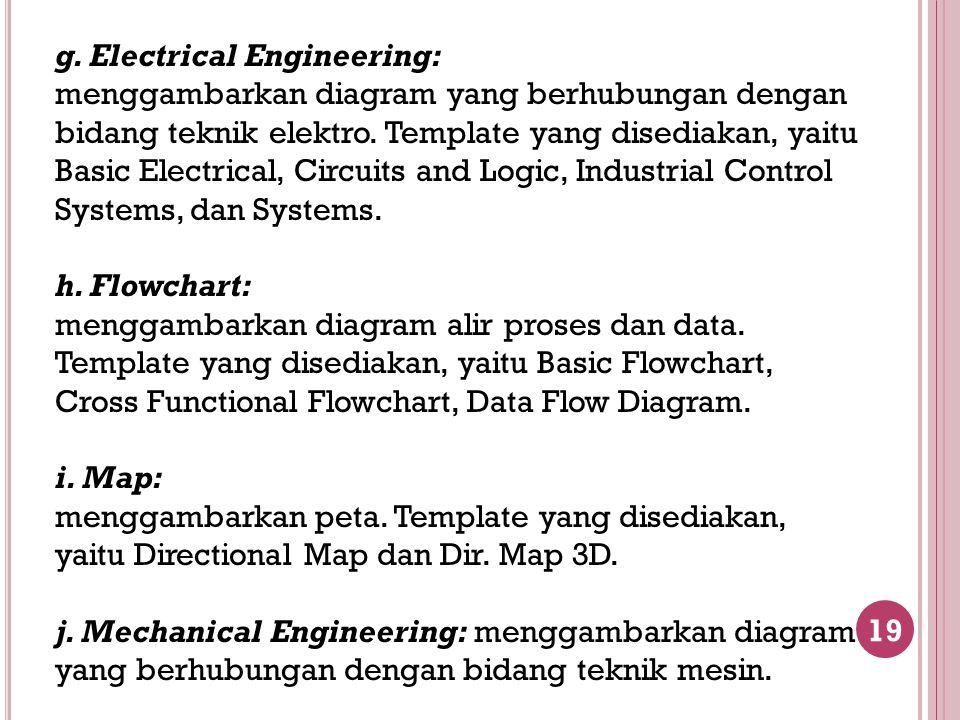 19 g. Electrical Engineering: menggambarkan diagram yang berhubungan dengan bidang teknik elektro. Template yang disediakan, yaitu Basic Electrical, C