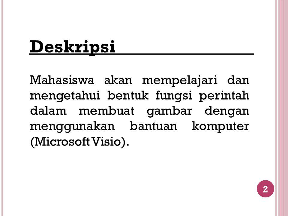 Deskripsi Mahasiswa akan mempelajari dan mengetahui bentuk fungsi perintah dalam membuat gambar dengan menggunakan bantuan komputer (Microsoft Visio).