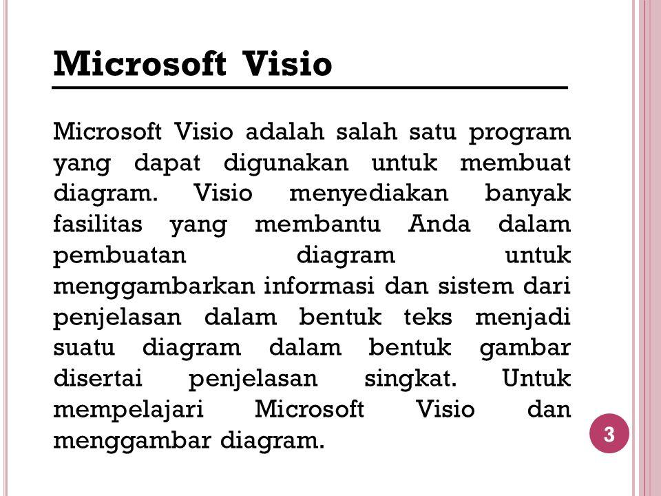 3 Microsoft Visio Microsoft Visio adalah salah satu program yang dapat digunakan untuk membuat diagram. Visio menyediakan banyak fasilitas yang memban