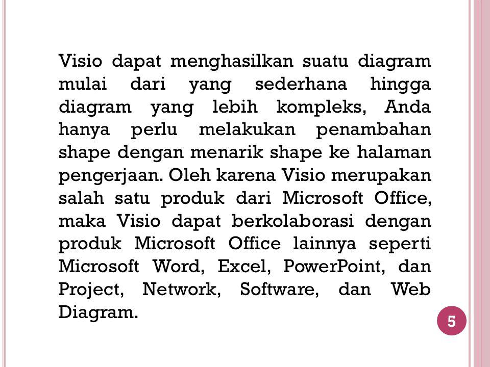 6 Menu Microsoft Visio Pada Microsoft Visio 2003 terdapat sembilan buah menu.