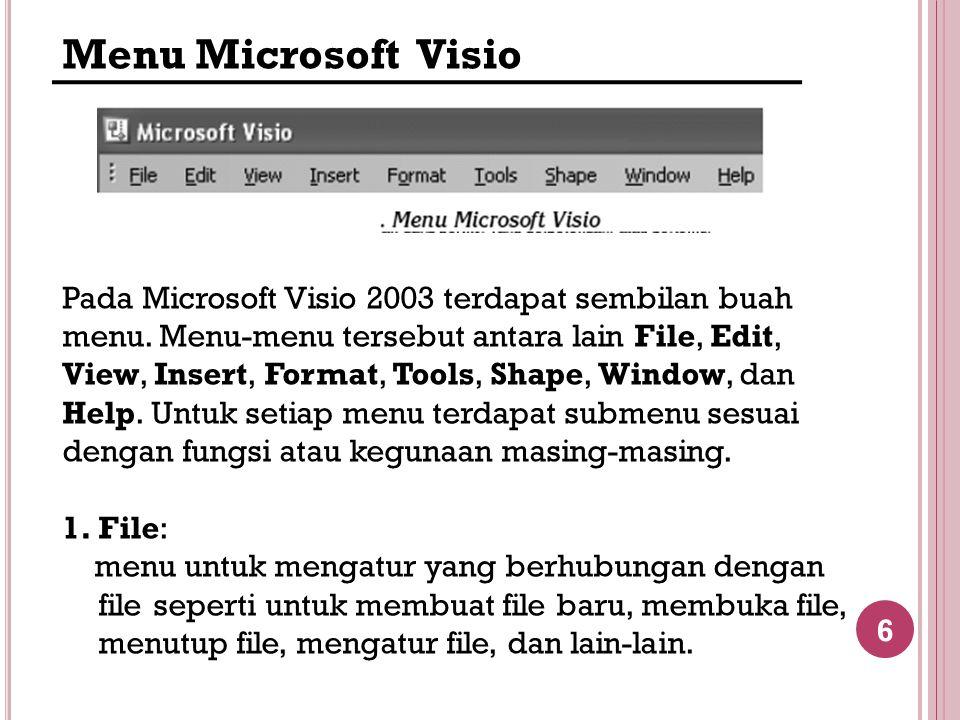 6 Menu Microsoft Visio Pada Microsoft Visio 2003 terdapat sembilan buah menu. Menu-menu tersebut antara lain File, Edit, View, Insert, Format, Tools,
