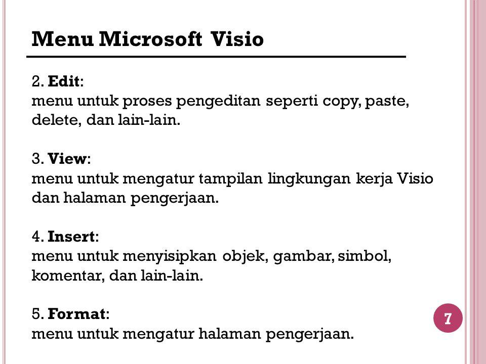 7 Menu Microsoft Visio 2. Edit: menu untuk proses pengeditan seperti copy, paste, delete, dan lain-lain. 3. View: menu untuk mengatur tampilan lingkun