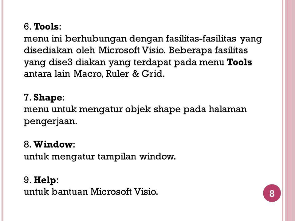 8 6. Tools: menu ini berhubungan dengan fasilitas-fasilitas yang disediakan oleh Microsoft Visio. Beberapa fasilitas yang dise3 diakan yang terdapat p